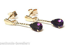 9ct Gold Amethyst Teardrop earrings Gift Boxed Made in UK