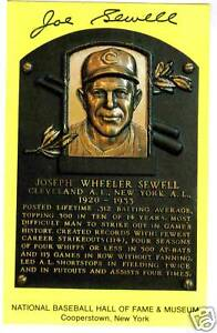 JOE SEWELL autographed HOF Plaque post card Cleveland Indians New York Yankees