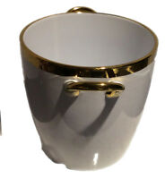 CERAMIC CHAMPAGNE/WINE COOLER ICE BUCKET  - WHITE w/GOLD COLOR TRIM AND HANDLES