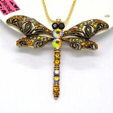 Hot Betsey Johnson Yellow Enamel Cute Dragonfly Crystal Pendant Women Necklace