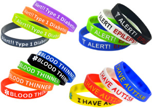 Silicone Bracelets Wrist Bands Medical Alert Health Survival Aware Adults Kids