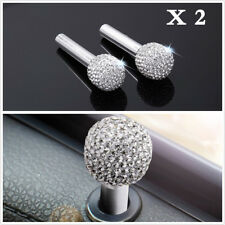 White One Pair Rhinestone Interior Door Lock Knob Pins Handles For Auto Car SUV