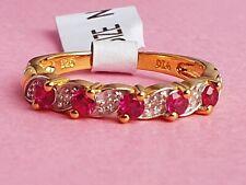 18ct Gold Plated SterlingSilver Ruby & DiamondAccentEternityRingSize L,M,N,O,P
