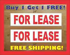 "FOR LEASE 6""x24"" REAL ESTATE RIDER SIGNS Buy 1 Get 1 FREE 2 Sided Plastic"