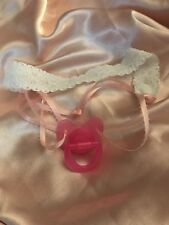 SISSY BABY CUSTOM MADE INTERCHANGEABLE TIE ON PACIFIER STRAPS PINK