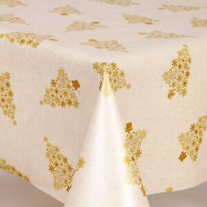 CHRISTMAS METALLIC SPARKLE SHINY GOLD TREES PVC PLASTIC VINYL TABLE CLOTH COVER