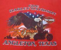 Harley-Davidson Motorcyles Men's T-Shirt, Angleton, TX, Red, 2XL, Exc Used