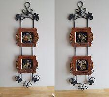 Set of Four Raymond Waites Birds/Flowers Plates w/ Two Hanging Steel Racks