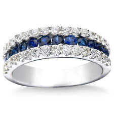 2Ct Round Simulant Blue Sapphire Diamond Eternity Engagement Ring Silver Gold FN
