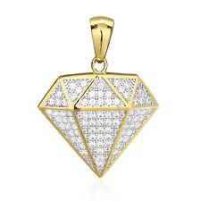 "10k Solid Yellow Gold 1Ct Brilliant Cut Created Diamond Shaped Pendant 1.1"""