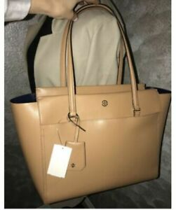 CHIC!**Tory Burch Robinson Top Zip Luggage Tote Saffiano Leather Beige New