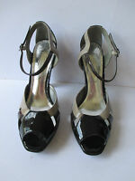 M&S Ladies Stylish Black & Beige Patent Strappy Sandals, Size-UK 6 /EU 39.5  NEW