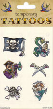 Pirate Temporary Tattoos Fancydress Accessory Skull Crossbones Flag Captain Jack