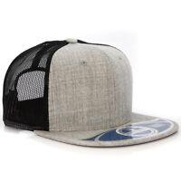 Wool Plain Mesh Trucker Snapback Cap Hat
