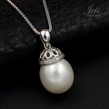 10mm White Freshwater Pearl CZ 925 Sterling Silver Pendant Chain Necklace 00835