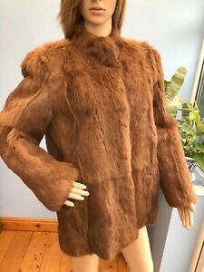 Vintage Coney Rabbit Brown Real Fur Jacket Coat Size M