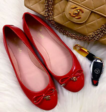 KATE SPADE Charm Red Patent Leather Ballet Flats Slip On Loafers USA 6 / Euro 36