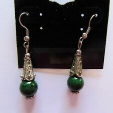 beads-cones pretty design french wire Fashion Earrings- silver color green round