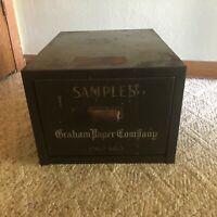 Antique Graham Paper Co. Chicago Salesman Sample Single Drawer Cabinet Adver