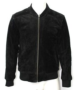 Oliver Mens 70s Bomber Black Suede Fitted Retro Classic Rock 100% Leather Jacket