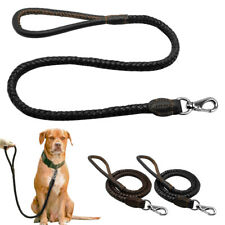 3ft Genuine Leather Dog Leash Braided Round Lead for Medium Large Dogs Walking