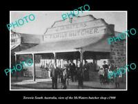 OLD LARGE HISTORIC PHOTO OF TEROWIE SA, VIEW OF THE McWATERS BUTCHER SHOP c1900