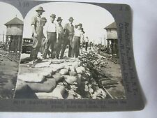 SANDBAG WALL TO PROTECT FROM FLOOD EAST ST. LOUIS ILL OLD STEREOVIEW CARD     T*