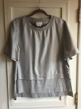 DKNY Pure Light Gray Boxy Silk Paneled Blouse Size Large