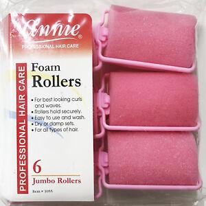 "ANNIE CLASSIC FOAM CUSHION ROLLERS #1055, 6 COUNT PINK JUMBO 1-1/2"""