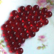 Vintage Glass Beads, Ruby Red Siam NOS 8mm Round No Hole Marbles Solid #1499