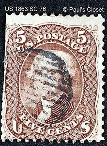 US 5¢ T. JEFFERSON BROWN SC 76 UNG 1863 BLACK CIRCLE GRID CNX FINE SCV