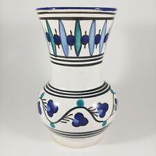 "HANDMADE 5"" Small Tunisian Mediterranean Blue Green Floral Striped Ceramic Vase"