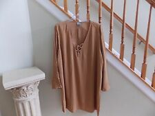 Women's NWT Tan ASOS Curve Lace Up Front Tunic Top Plus Size 20W