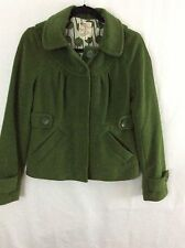Tulle Women's Size Small Green Peacoat Jacket Coat With Hood & Lining In EUC