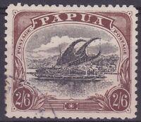 PNG954) Papua 1909 Lakatoi large 'Papua' watermark sideways perf 11 2/6d Black &