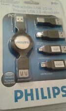 Philips Retractable USB 2.0 KIT  3ft/1m  5 PC,  PC GEAR NEW