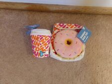 BARK Dog Toy Set Dunkin Donut w Crinkle Bag Coffee ToGo Cup NEW Squeakers Treats