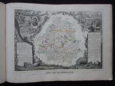 ancienne gravure carte Départ. Dordogne - 50 par 36 cm - Levasseur - 1845