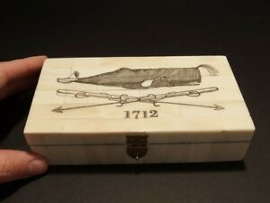 Antique Style Folk Whale Harpoon Scrimshaw Bone & Wood Trinket Box