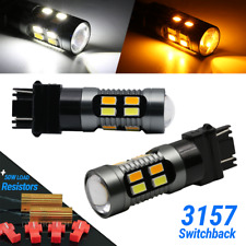 New 3157 LED Switchback Turn Signal DRL White Amber Parking Bulbs + Resistors