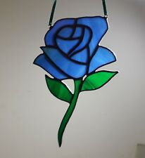 Handmade Stained Glass Blue Rose Mothers Day Valentine's Day faith stained glass