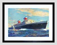 PAINTING SHIP AMERICAN SEA SS UNITED STATES BLACK FRAMED ART PRINT B12X12579