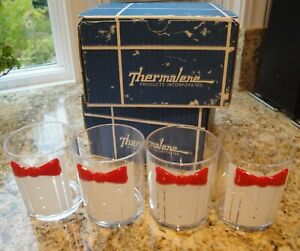 THERMALENE Vintage 8 Double Old-Fashioned Plastic Glasses Tux w/ Red Tie