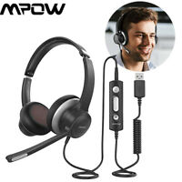 Mpow HC6 3.5mm/USB Headset with Mic Computer OnEar Headphones Earphone for Phone