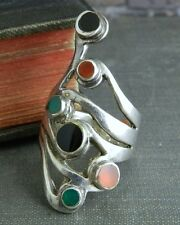 Multi-Stone Long Sterling Silver Ring