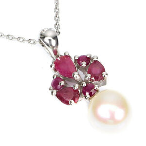Pear Red Ruby 5x3mm Pearl 14K White Gold Plate 925 Sterling Silver Necklace 18