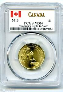 2016 CANADA $1 PCGS MS67 UNCIRCULATED WOMENS RIGHT TO VOTE LOON DOLLAR TOP POP !