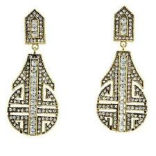 """Heidi Daus """"Denim and Deco"""" Crystal Drop Earrings $130+ Retail New With Tag Gold"""