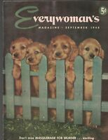 Everywoman's Magazine September 1948 Adorable Puppy Dogs Cover