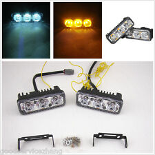 UNIVERSAL 2x6 LED White/Amber Switchback LED Daytime Running Turn Signal Lights